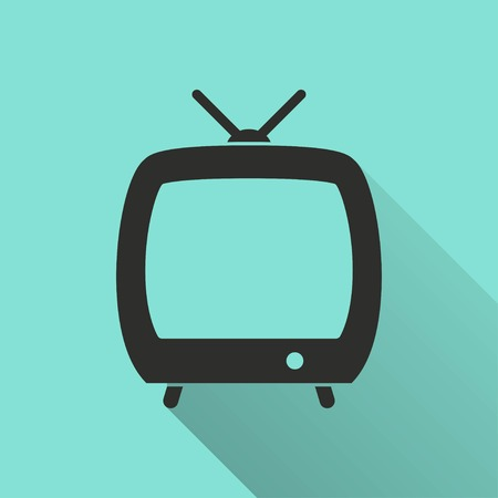 flatscreen: TV  icon with long shadow, flat design. Vector illustration.