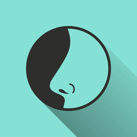 exhale: Nose   icon with long shadow, flat design. Vector illustration. Illustration