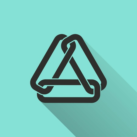 pressure linked: Link  icon with long shadow, flat design. Vector illustration. Illustration
