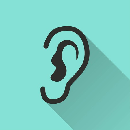 listener: Ear   icon with long shadow, flat design. Vector illustration.
