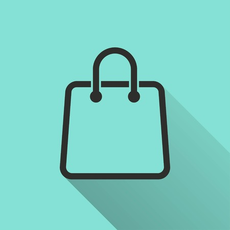 Shopping bag icon with long shadow, flat design. Vector illustration.