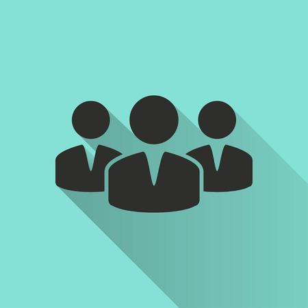 Menschen mit langen Schatten, flachen Design-Ikone. Vektor-Illustration. Vektorgrafik