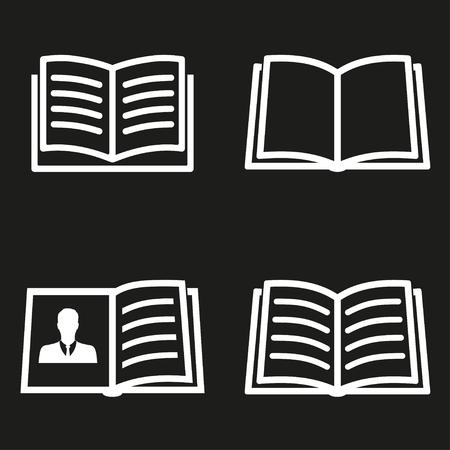 e book reader: Book  icon  on black background. Vector illustration.