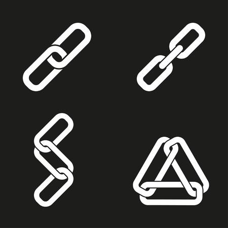 pressure linked: Link   icon  on black background. Vector illustration.