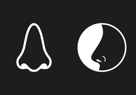 sniff: Nose   icon  on black background. Vector illustration.