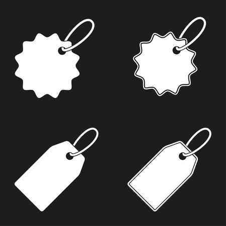 Icône d'étiquette de prix sur fond noir. Illustration vectorielle