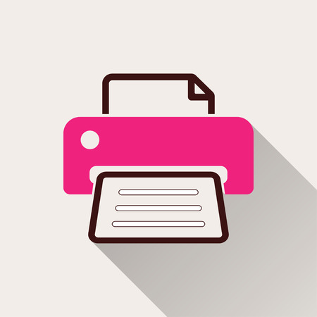 glyphs: Printer  icon with long shadow, flat design. Vector illustration. Illustration