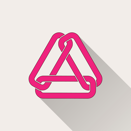 pressure linked: Link   icon with long shadow, flat design. Vector illustration.
