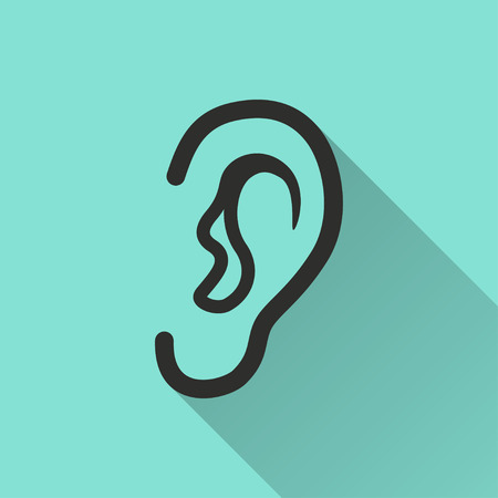 icon vector: Ear   icon with long shadow, flat design. Vector illustration.