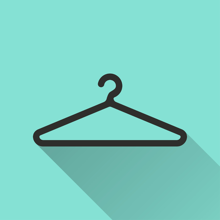 shirts on hangers: Hanger  icon with long shadow, flat design. Vector illustration.