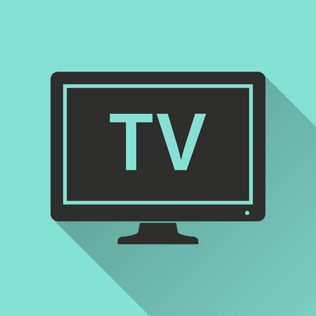 tv icon: TV  icon with long shadow, flat design. Vector illustration.