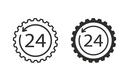 24 hour: 24 hour service  icon  on white background. Vector illustration.