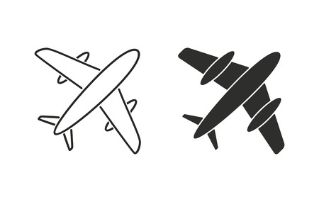 Airplane  icon  on white background. Vector illustration.  イラスト・ベクター素材