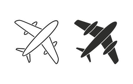 Airplane  icon  on white background. Vector illustration. Vettoriali