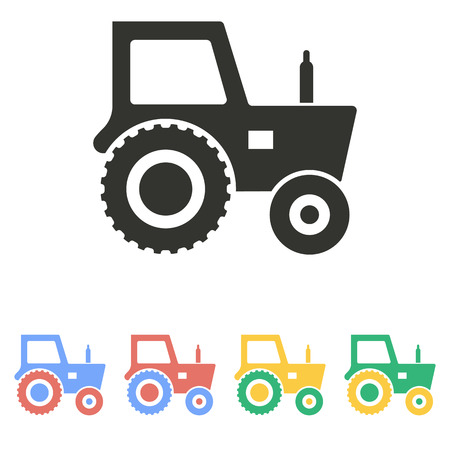 yellow tractors: Tractor  icon  on white background. Vector illustration. Illustration