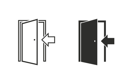 Door  icon  on white background. Vector illustration.