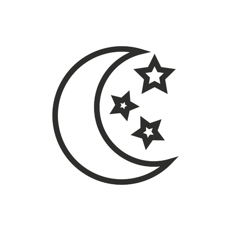 Moon star  icon  on white background. Vector illustration.