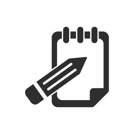 Notepad  icon  on white background. Vector illustration. Vettoriali