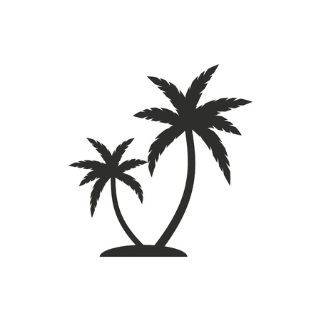 coco: Palm tree  icon  on white background. Vector illustration.