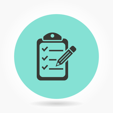 syllabus: Clipboard pencil   -   icons for graphic design and Internet sites. Vector illustration.
