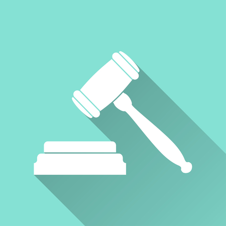 tribunal: Court  icon with long shadow, flat design. Vector illustration. Illustration