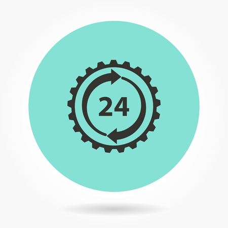 around the clock: 24 hour service   -   icons for graphic design and Internet sites. Vector illustration. Illustration