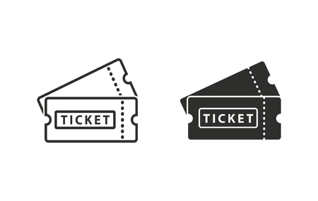 at the theater: Ticket  icon  on white background. Vector illustration.