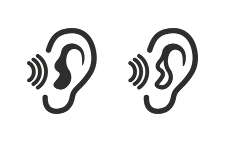 tapping: Ear   icon  on white background. Vector illustration. Illustration