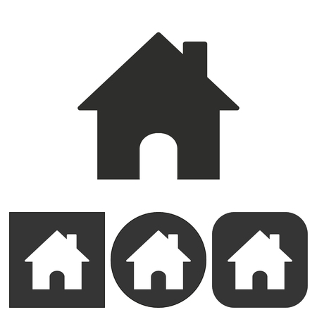 abode: Home   icon  on  black and white background. Vector illustration.