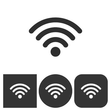 Wi Fi  icon  on  black and white background. Vector illustration. Illustration