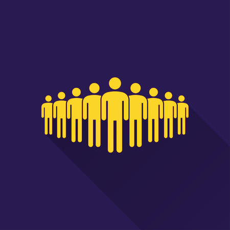 shadow people: People  icon with long shadow, flat design. Vector illustration.