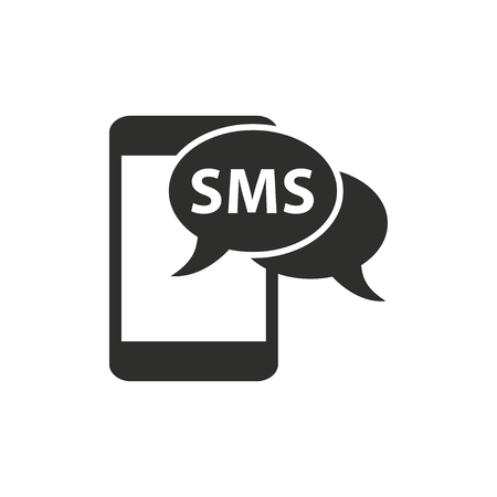 sms: SMS  icon  on white background. Vector illustration.