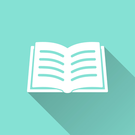 e book reader: Book  icon with long shadow, flat design. Vector illustration.