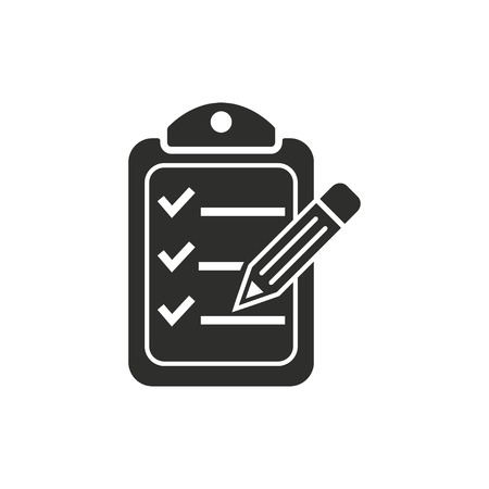 check icon: Clipboard pencil  icon  on white background. Vector illustration.