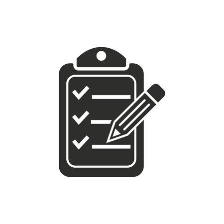 Presse-papiers icône de crayon sur fond blanc. Vector illustration.