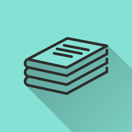e book reader: Book  black icon with long shadow, flat design. Vector illustration. Illustration