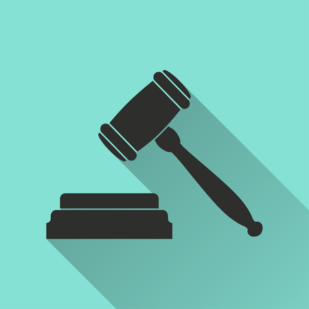tribunal: Court  black icon with long shadow, flat design. Vector illustration.