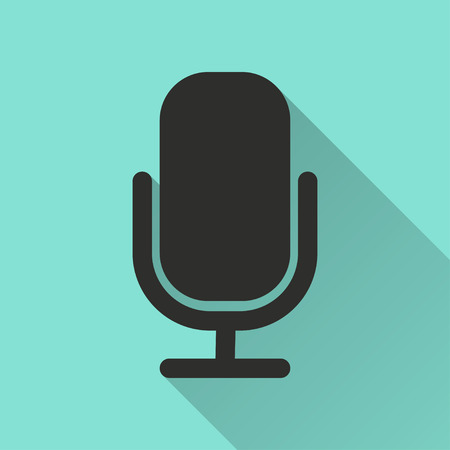 amplification: Microphone  black icon with long shadow, flat design. Vector illustration. Illustration