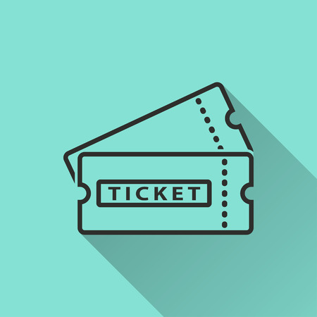 soccer pass: Ticket  black icon with long shadow, flat design. Vector illustration.