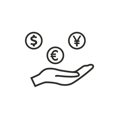 cash in hand: Cash on hand  icon  on white background. Vector illustration.