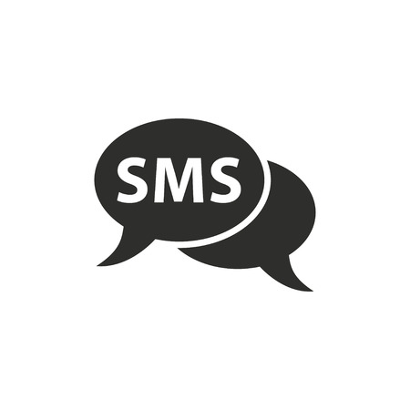 sms icon: SMS  icon  on white background. Vector illustration.