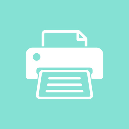 computer printer: Printer    vector icon. White  illustration isolated on green  background for graphic and web design. Illustration