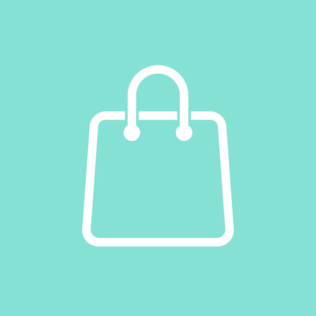 shopping bag vector: Shopping bag    vector icon. White  illustration isolated on green  background for graphic and web design. Illustration