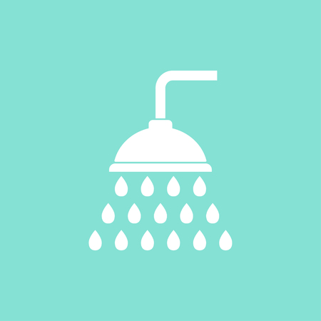 rinse: Shower    vector icon. White  illustration isolated on green  background for graphic and web design.