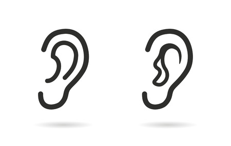 listener: Ear    vector icon. Black  illustration isolated on white  background for graphic and web design. Illustration