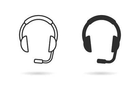 hear business call: Headphone   vector icon. Black  illustration isolated on white  background for graphic and web design.