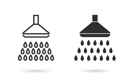 showering: Shower   vector icon. Black  illustration isolated on white  background for graphic and web design.