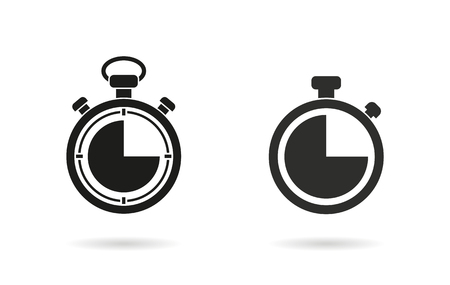 Stopwatch   vector icon. Black  illustration isolated on white  background for graphic and web design. Vettoriali