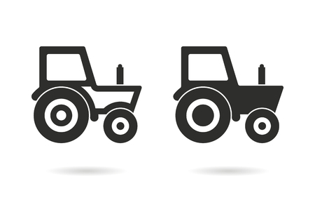 agronomy: Tractor   vector icon. Black  illustration isolated on white  background for graphic and web design.