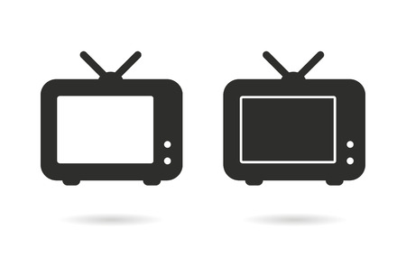 flatscreen: TV   vector icon. Black  illustration isolated on white  background for graphic and web design.  vector icon.